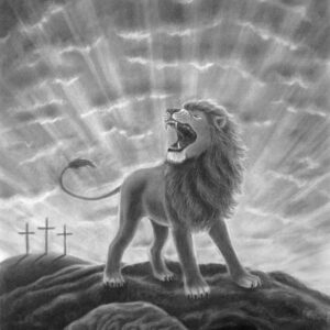 Lion of Judah Roaring Christian artwork. The lion of the tribe of Judah roaring.