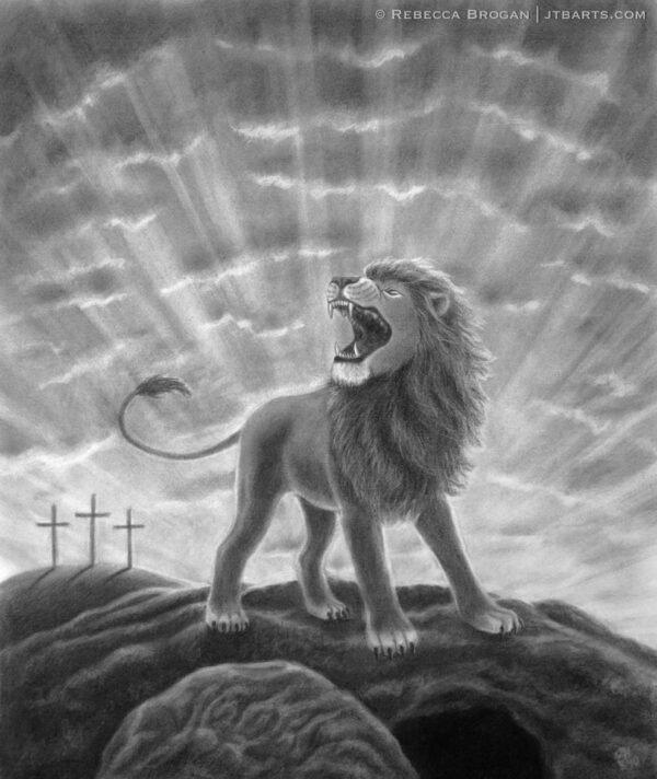 Lion of Judah Roaring Christian artwork. The lion of the tribe of Judah roaring.