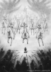 Spiritual warfare Christian artwork of Jesus and an army of angels defeating demons.