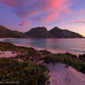 Wineglass Bay Sunrise Over The Hazards with Wombat Tracks