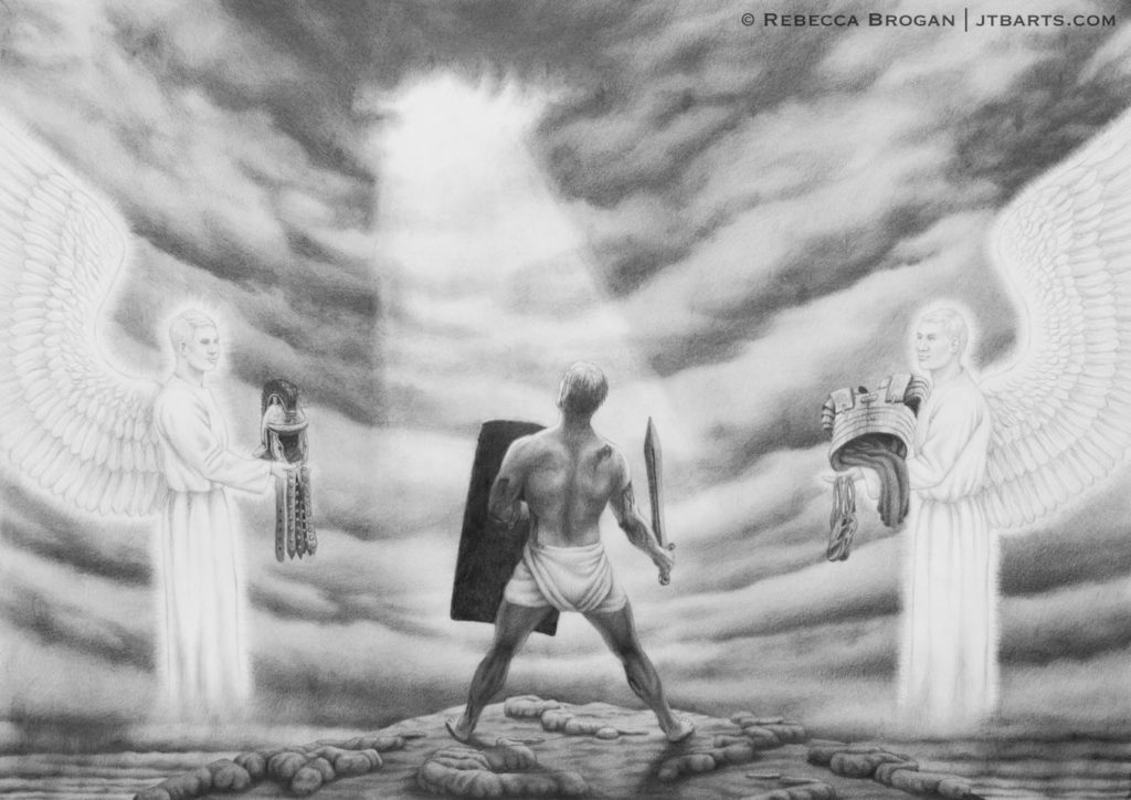 Spiritual warfare artwork of a wounded soldier rising in spiritual battle, clothed with the armor of God.