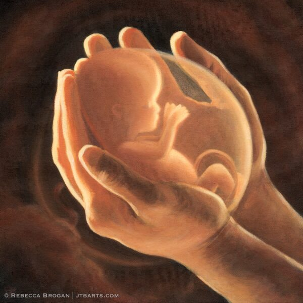 Baby fetus (foetus) in hands of God. Christian art painting of Psalm 139:15-16.