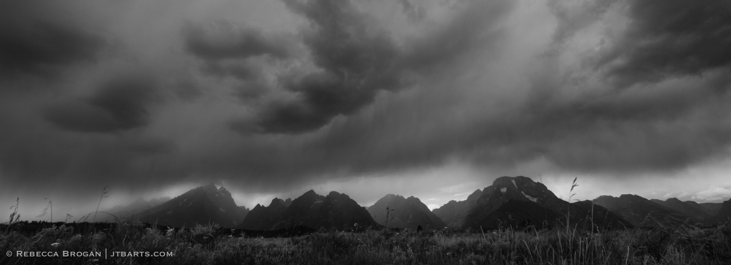 Grand Tetons thunderstorm panorama black and white landscape photograph taken in Grand Teton National Park. Wilderness Photographer: Rebecca Brogan www.jtbarts.com