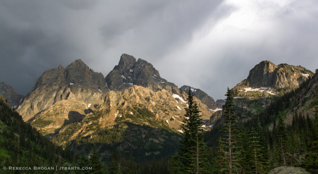 Grand Teton and Mt Owen thunderstorm panorama landscape photograph taken from North Fork Camping Zone in Grand Teton National Park. Wilderness Photographer: Rebecca Brogan www.jtbarts.com