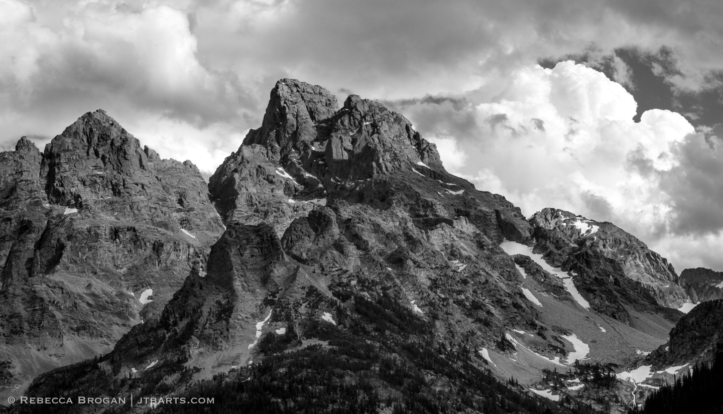 Grand Teton and Mt Owen panorama landscape black and white photograph taken from North Fork Camping Zone in Grand Teton National Park. Wilderness Photographer: Rebecca Brogan www.jtbarts.com