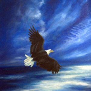 Soar on wings like eagles, Isaiah 40:30-31. Christian art painting of an eagle soaring.
