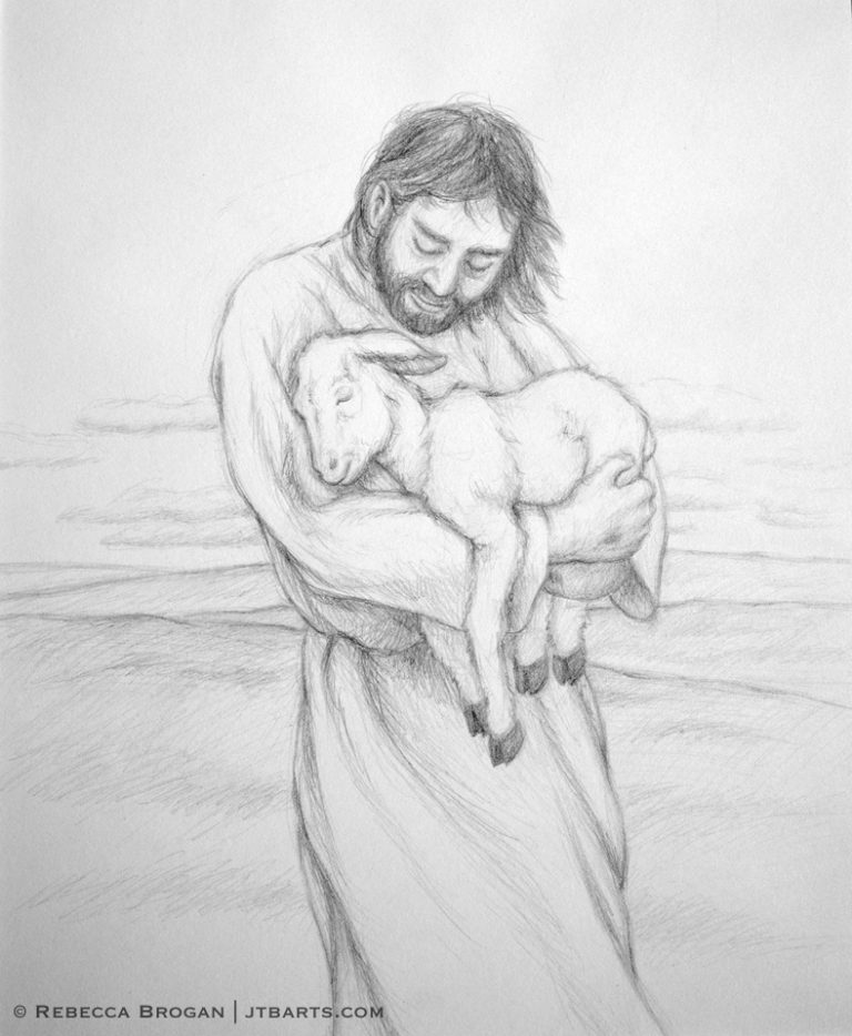 Jesus holding a lamb. Black and white Christian artwork drawing.