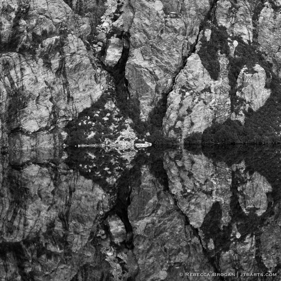 Square Lake Reflection Western Arthurs Range black and white photograph