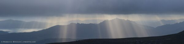 Sun rays over Florentine Valley, Mt. Field National Park, Tasmania