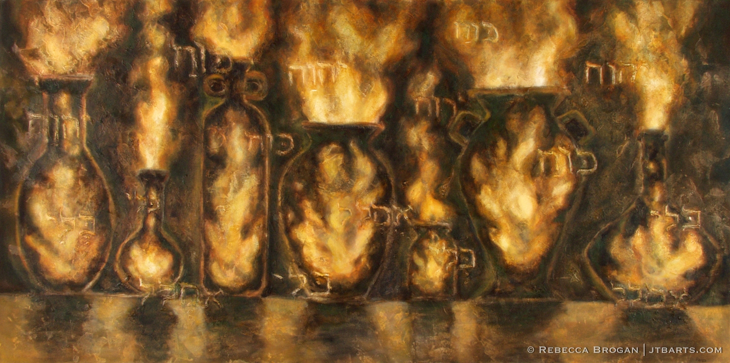 Jars of clay, earthen vessels, filled with Holy Spirit fire. Christian art painting based on 2 Corinthians 4:7.