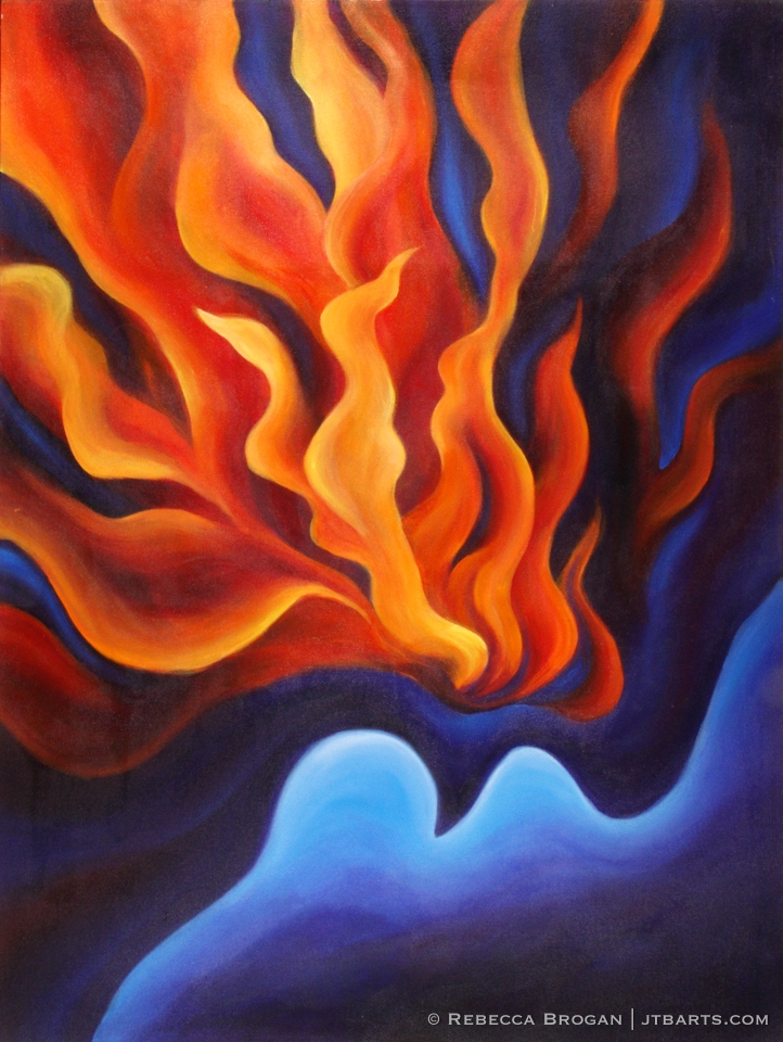 Baptism of The Holy Spirit. Christian art painting of the Holy Spirit descending as a dove in fire.