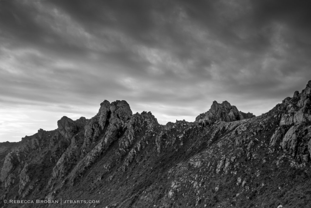 Western Arthurs, Southwest National Park, Tasmania black and white photograph