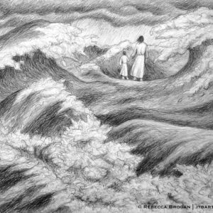 Jesus walking on water. Jesus holding a child's hand. Black and white Christian art.