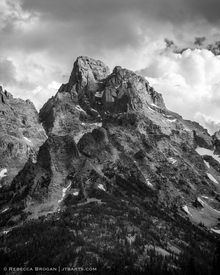 Grand Teton peak black and white landscape photograph taken from North Fork Camping Zone in Grand Teton National Park. Wilderness Photographer: Rebecca Brogan www.jtbarts.com